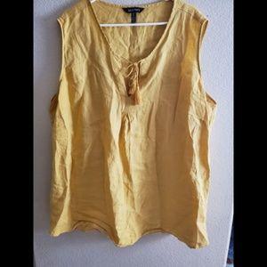 Ellen Tracy 3X Linen Yellow Sleeveless Boho Top